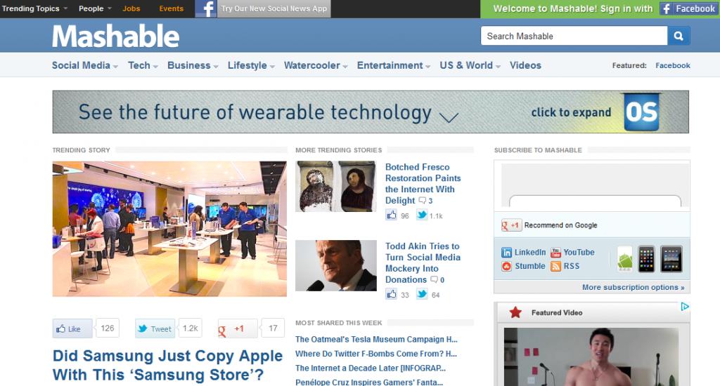 个人IT博客Mashable已成国外网站重要新闻来源插图