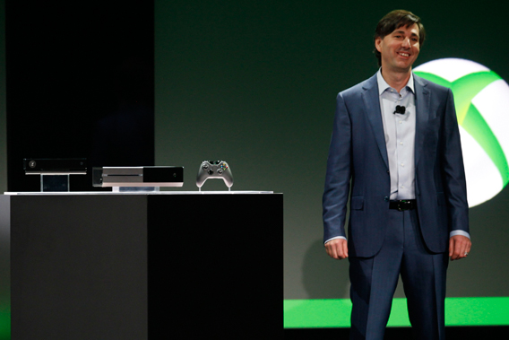 Don Mattrick, President of the Interactive Entertainment Business at Microsoft reveals the Xbox One during a press event in Redmond