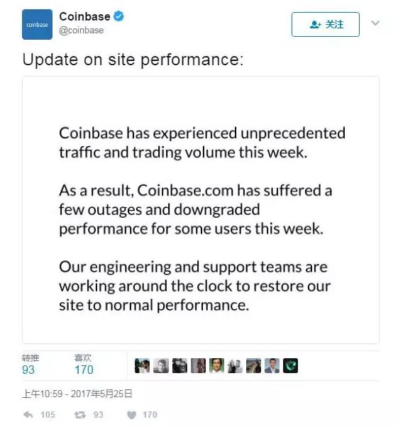 5月26日,全球最大比特币交易平台Coinbase不堪重负出现宕机插图