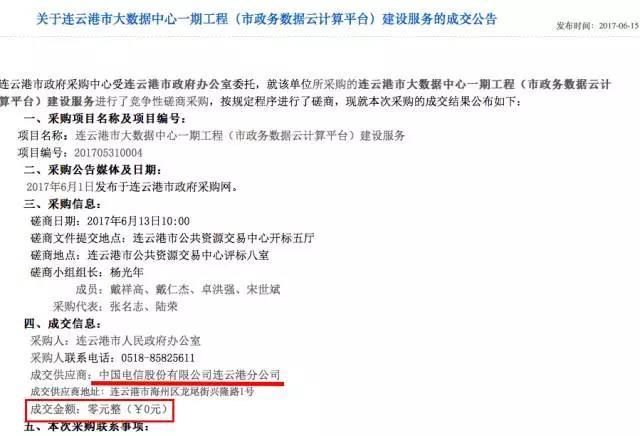 0元力压0.1元,中国电信中标连云港政务云项目插图