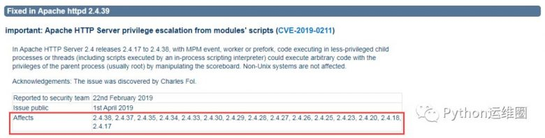 Apache 服务器存在高危提权漏洞,请升级至最新版本 2.4.39插图(1)